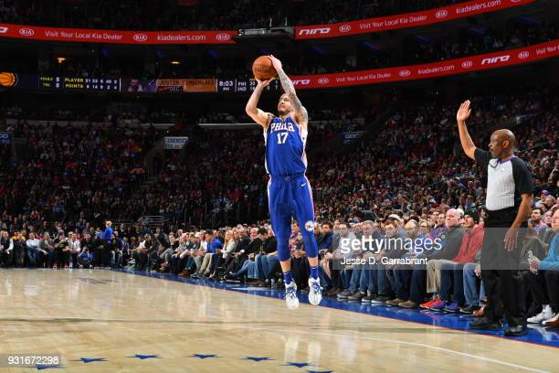 Redick of the Philadelphia 76ers shoots the ball against the Indiana Pacers at the Wells Fargo Center on March 13 2018 in Philadelphia Pennsylvania...