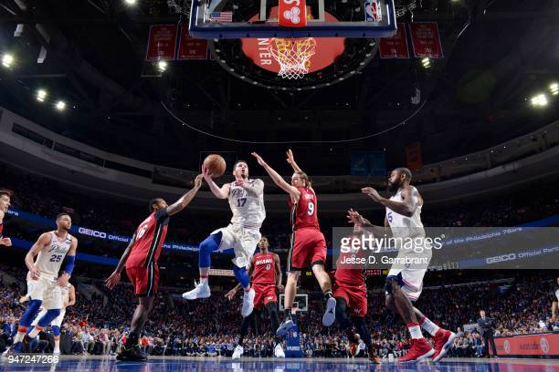 Redick of the Philadelphia 76ers shoots the ball against the Miami Heat in Game Two of Round One of the 2018 NBA Playoffs on April 16 2018 in...
