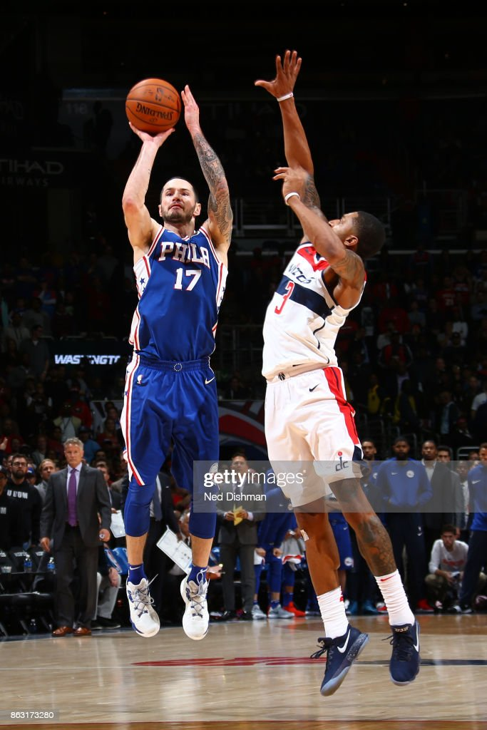 JJ Redick #17 of the Philadelphia 76ers shoots the ball against the Washington Wizards on October 18, 2017 at Capital One Arena in Washington, DC.