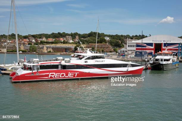 Redjet6 a new hi speed passenger ferry carrying 275 fare paying people between Cowes and Southampton southern England UK