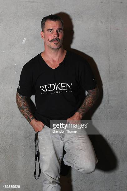 Redken hair stylist Richard Kavanagh poses backstage ahead of the Johanna Johnson Presented By Capitol Grand show at MercedesBenz Fashion Week...