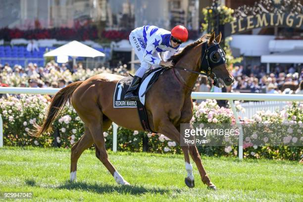 Redkirk Warrior ridden by Regan Bayliss heads to the barrier before the Lexus Newmarket Handicap at Flemington Racecourse on March 10 2018 in...