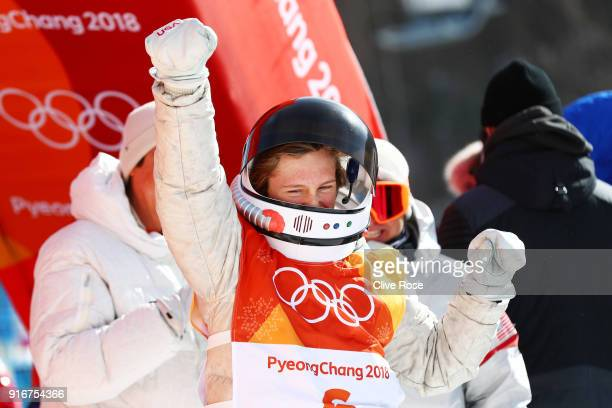 Redmond Gerard of the United States celebrates winning gold during the Snowboard Men's Slopestyle Final on day two of the PyeongChang 2018 Winter...