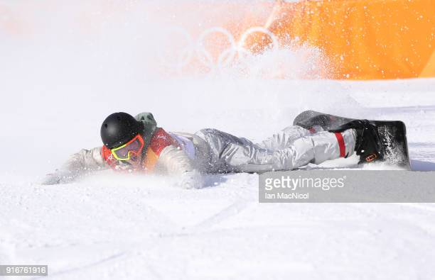 Redmond Gerard of United States celebrates after his final run during the Snowboard Men's Slopestyle Final on day two of the PyeongChang 2018 Winter...