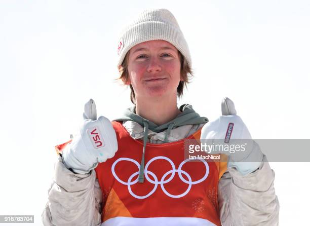 Redmond Gerard of United States celebrates after winning Gold during the Snowboard Men's Slopestyle Final on day two of the PyeongChang 2018 Winter...