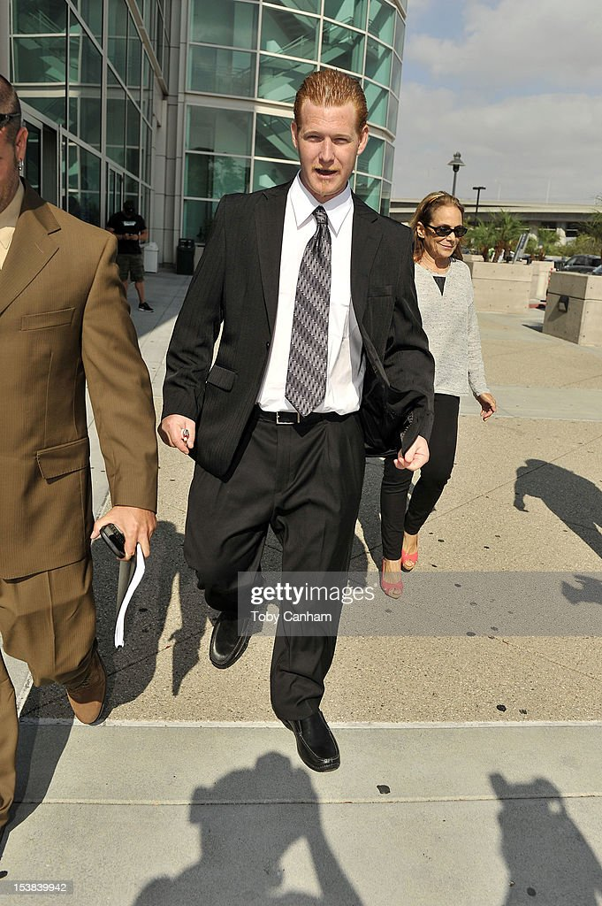 Redmond O'Neal leaves court after his final progress report at LAX Courthouse on October 9, 2012 in Los Angeles, California. O'Neal will be placed on probation. If O'Neal violates any of the terms for his probation he could face a six-year jail sentence.