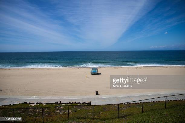 Redondo Beach is pictures empty in California on March 28 2020 Los Angeles County closed all beaches today as a new measure to stem the spread of...