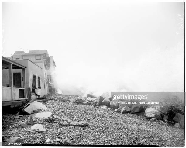 Redondo high waves August 6 1952 500 block on the StrandDorothy CooperJoAnn WeishaarLynn KnaussLarry KnaussBilly TowersCaption slip reads...