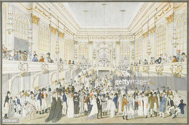 Redoutes hall in the Imperial Palace during a masked ball Water colour by Joseph Schtz Around 1815 [Ansicht des Redoutensaals in der Hofburg whrend...