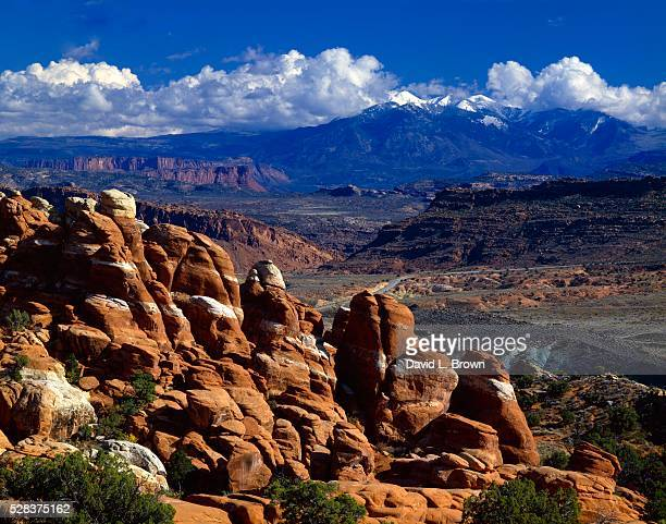 Redrock formations called the Fiery Furnace, La Sal Mountains in distance, Arches National Park