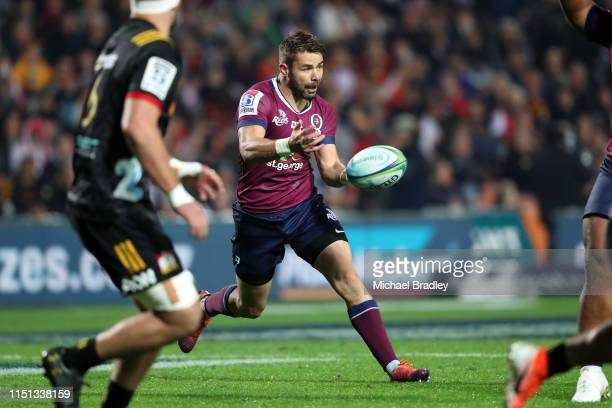 Reds Matt McGahan looks to pass during the round 15 match between the Chiefs and the Reds at FMG Stadium on May 24 2019 in Hamilton New Zealand