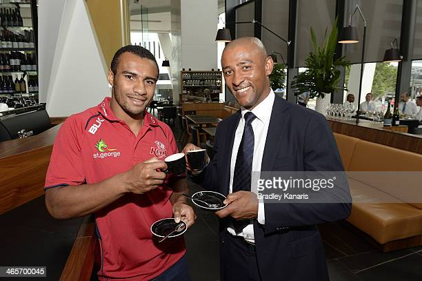 Reds player Will Genia poses with former Wallabies captain George Gregan at his cafe named GG Espresso on January 29 2014 in Brisbane Australia