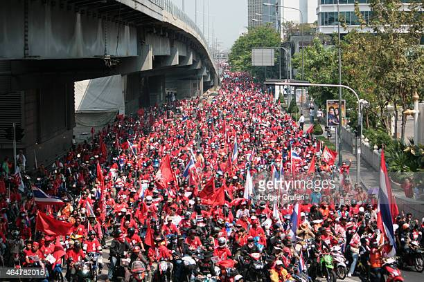 CONTENT] Redshirt unrest in Bangkok march 2010 the corso of several thousand motorbikes and cars enters the Silom road