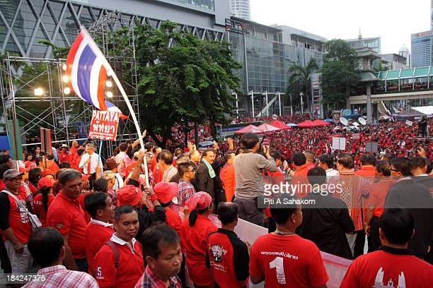 Red-shirts supporters of ousted Thai prime minister Thaksin Shinawatra during a rally in Ratchaprasong junction. Red-shirts protesters mark the third...