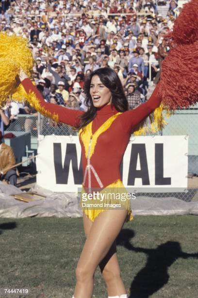 Redskinette cheerleader for the Washington Redskins cheers on the Redskins during a game in November 1979 at RFK Stadium in Washington DC