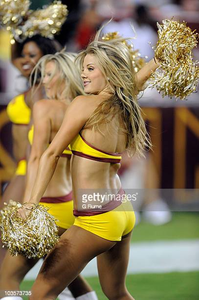 Redskins cheerleaders perform during the preseason game between the Washington Redskins and the Baltimore Ravens at FedExField on August 21 2010 in...