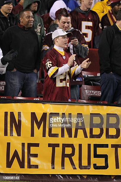 Redskins fan supports his team during the game between the Washington Redskins and the Philadelphia Eagles on November 15 2010 at FedExField in...