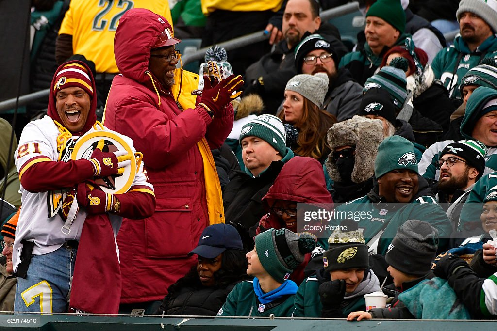 Redskins fans celebrate a third quarter touchdown at Lincoln Financial Field against the Philadelphia Eagles on December 11, 2016 in Philadelphia, Pennsylvania. The Redskins won 27-22.