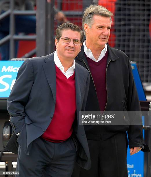 Redskins owner Dan Snyder left and GM Bruce Allen before the Dallas Cowboys play the Washington Redskins at FedEx Field in Landover MD December 28...