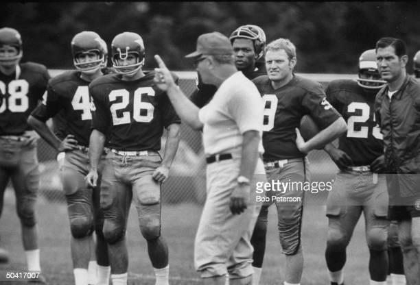 Redskins quarterback Sonny Jurgensen and Coach Vince Lombardi during practice at R F K Memorial Stadium
