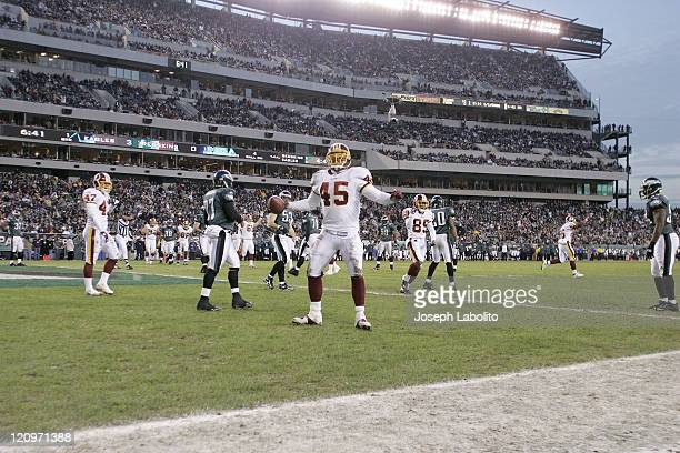 Redskins running back Mike Sellers celebrates a touchdown. The Washington Redskins defeated the Philadelphia Eagles 31 to 20 at Lincoln Financial...