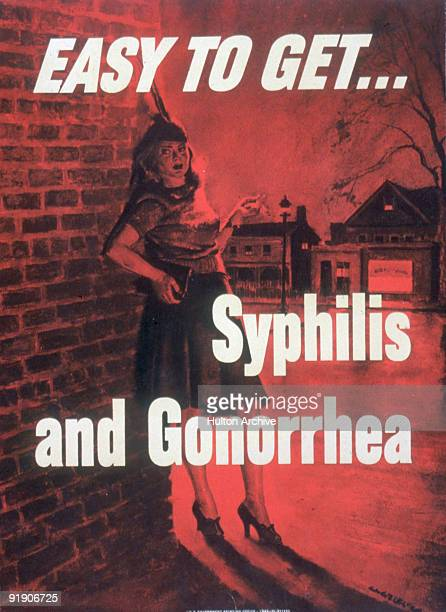 Redtinted poster features a woman in a feathered hat as she smokes a cigarette and leans against a shadowed brick wall on a street corner accompanied...