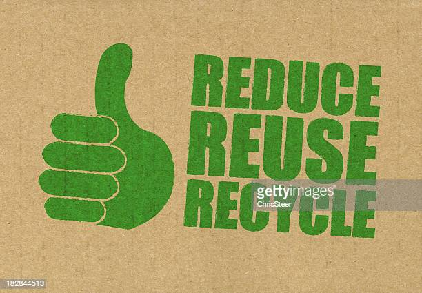 Reduce Reuse Recycle sign printed in green on a brown bag