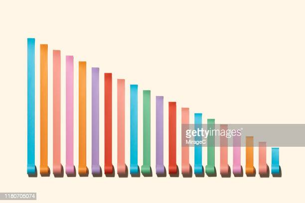 reduction bar chart made of paper rolls - 下方 ストックフォトと画像
