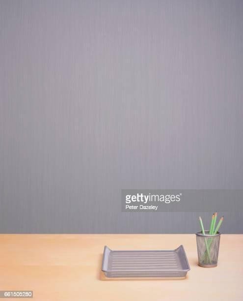 Redundancy empty office desk with copy space