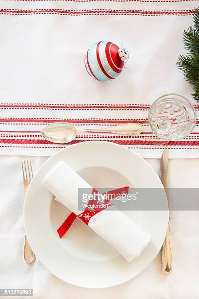 Red-white laid table at Christmas time