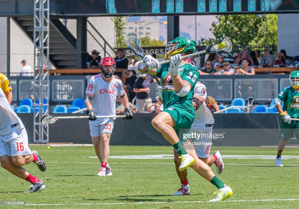 Redwoods midfielder Kyle Harrison loads up for a shot during the PLL