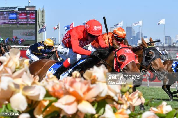 Redzel ridden by Kerrin McEvoy wins the Darley Classic at Flemington Racecourse on November 11 2017 in Flemington Australia
