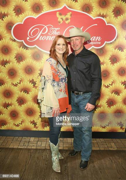 Ree Drummond and Ladd Drummond pose for a photo during The Pioneer Woman Magazine Celebration with Ree Drummond at The Mason Jar on June 6 2017 in...
