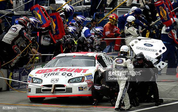 Ree Sorenson of the U.S. Pits his Discount Tire Co. Dodge Intrepid during the Telcel Mexico 200 Nascar Busch Series Race at the Autrodromo Hermanos...