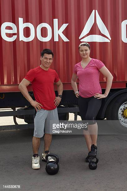 Reebok Ambassadors Batu Khasikov and Dinara Safina pose for pictures joining forces to help launch Reebok's The Sport Of Fitness Has Arrived campaign...