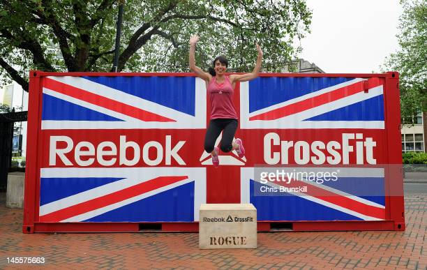 Reebok CrossFit ambassador Christine Bleakley poses for pictures at a photo call during the Reebok CrossFit Fitness Championship at the ICC on June 2...