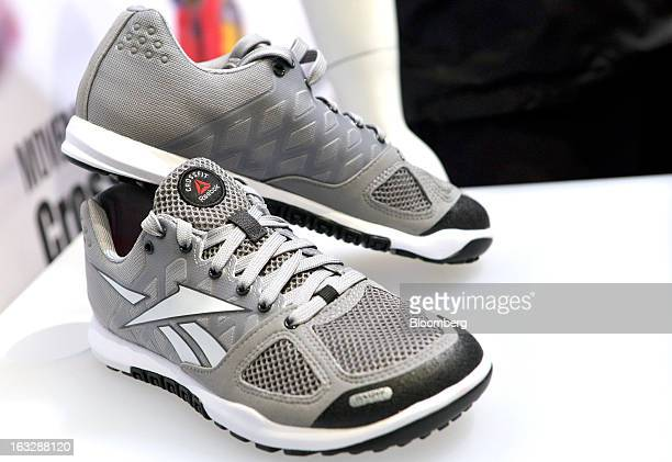 Reebok CrossFit footwear is seen on display during the Adidas AG earnings news conference in Herzogenaurach Germany on Thursday March 7 2013 Adidas...
