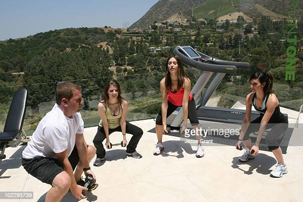 Reebok's Bryan Weinstein actresses Anna Kendrick Emmy Rossum and Ashlee SimpsonWentz attend the Reebok Women's Fitness event on June 16 2010 in Los...