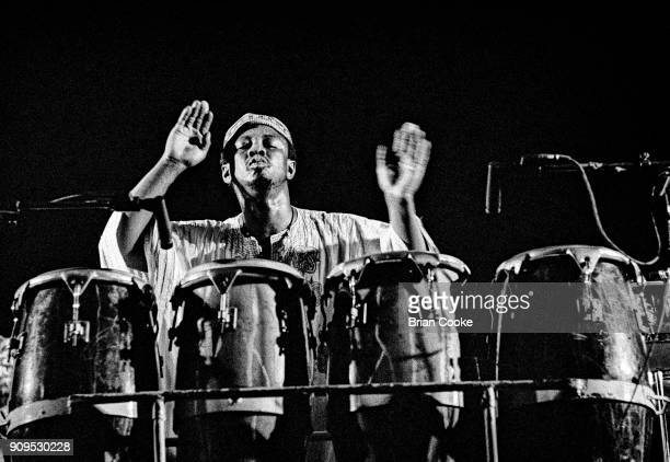 Reebop Kwaku Baah playing with Traffic at The Rainbow Theatre Finsbury Park North London on 12th April 1973 during their On The Road tour