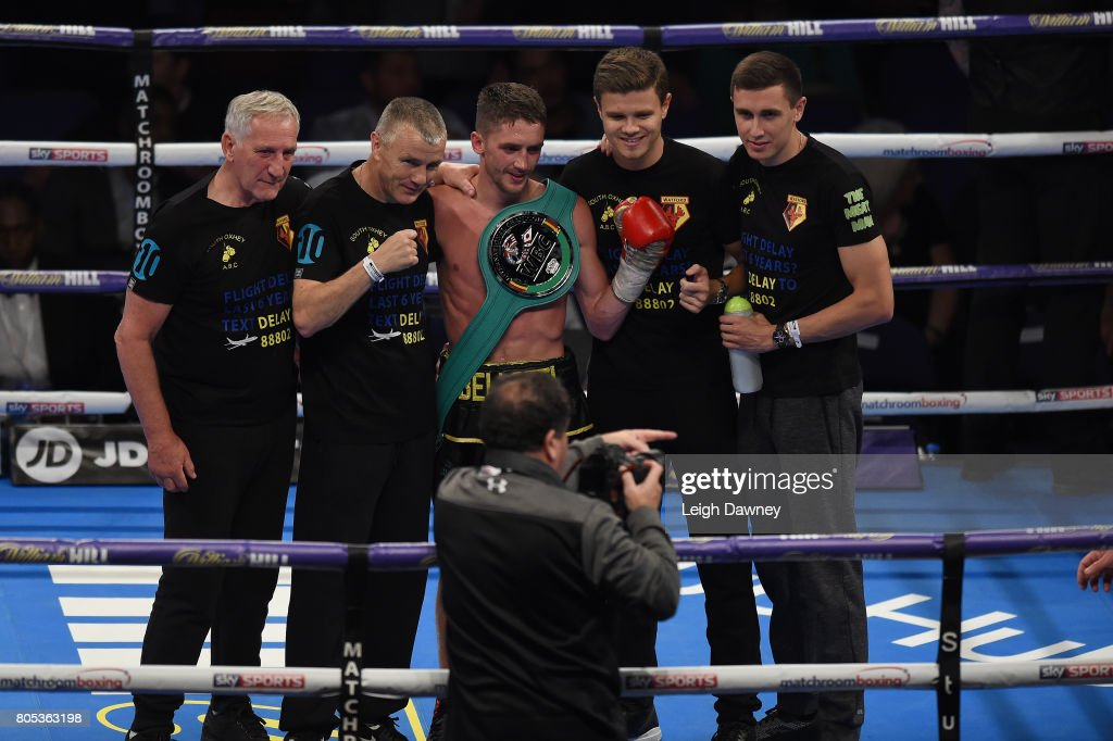 Reece Bellotti and team celebrate defeating Jamie Speight at The O2 Arena on July 1, 2017 in London, England.