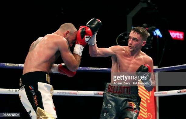 Reece Belotti and Ben Jones during the Commonwealth Featherweight Championship bout at The O2 Arena London PRESS ASSOCIATION Photo Picture date...