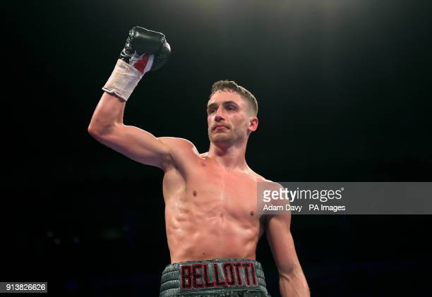 Reece Belotti celebrates victory against Ben Jones in the Commonwealth Featherweight Championship bout at The O2 Arena London PRESS ASSOCIATION Photo...