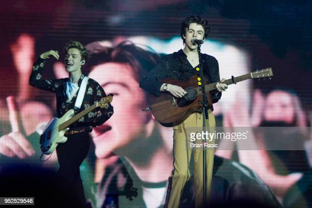 Reece Bibby and Blake Richardson of New Hope Club perform live on stage at The O2 Arena on April 28 2018 in London England