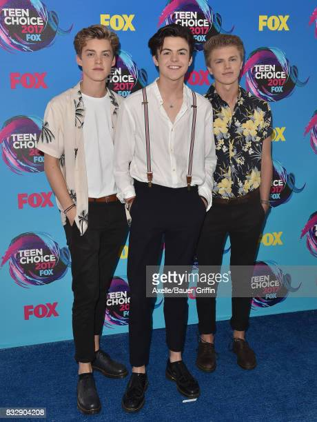 Reece Bibby Blake Richardson and George Smith of New Hope Club arrive at the Teen Choice Awards 2017 at Galen Center on August 13 2017 in Los Angeles...