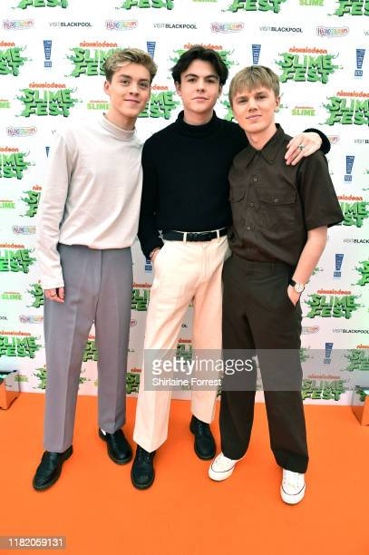 Reece Bibby Blake Richardson and George Smith of New Hope Club attend the Nickelodoen Slimefest at Blackpool Pleasure Beach on October 19 2019 in...