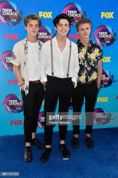 Reece Bibby Blake Richardson and George Smith of New Hope Club attend the Teen Choice Awards 2017 at Galen Center on August 13 2017 in Los Angeles...