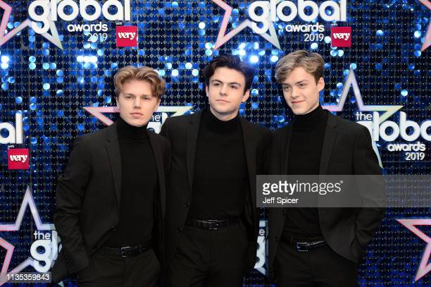 Reece Bibby Blake Richardson and George Smith of New Hope Club attends The Global Awards 2019 at Eventim Apollo Hammersmith on March 07 2019 in...
