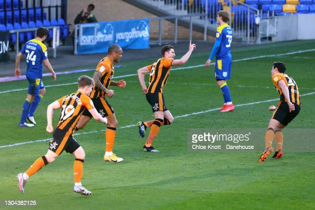 Reece Burke of Hull City celebrates scoring his teams second goal during the Sky Bet League One match between AFC Wimbledon and Hull City at Plough...