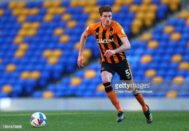 Reece Burke of Hull City during the Sky Bet League One match between AFC Wimbledon and Hull City at Plough Lane on February 27, 2021 in Wimbledon,...