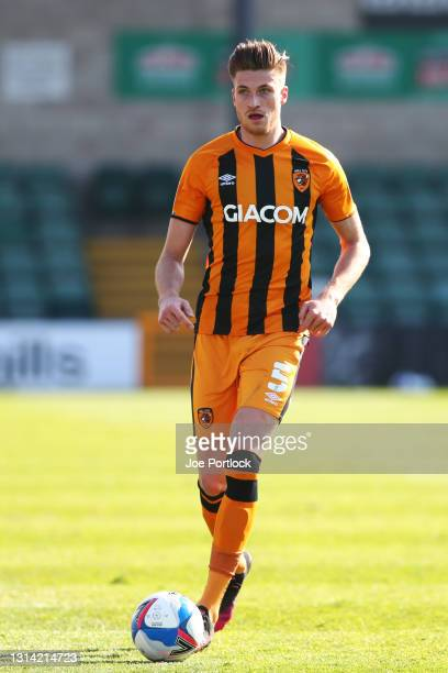 Reece Burke of Hull City during the Sky Bet League One match between Lincoln City and Hull City at Sincil Bank Stadium on April 24, 2021 in Lincoln,...